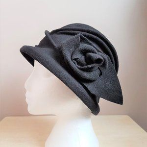 2 for $25  Black wool hat with flower on the side.